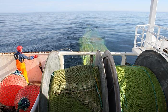 Boat harvesting Calanus finmarchicus