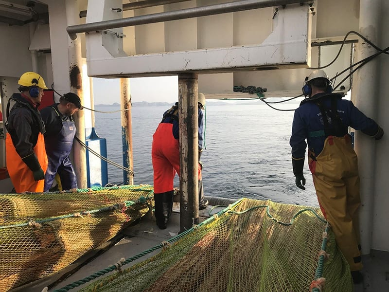 4 people retrieving the trawl